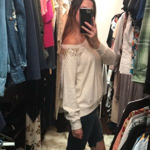 Abercrombie & Fitch Sequin Scoop Neck Sweater, M